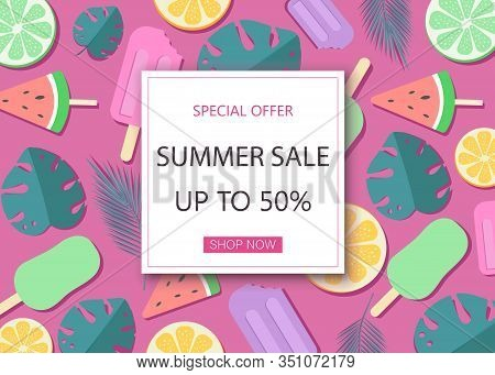 Summer Sale Banner With Symbols For Summer Time Such As Oranges. Vector Illustration Of Discount Tem