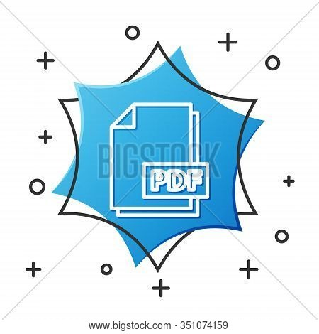 White Line Pdf File Document. Download Pdf Button Icon Isolated On White Background. Pdf File Symbol