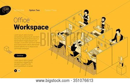 Flat Design Isometric Landing Page Vector Concept For Modern Office Coworking Space. Company Stuff W