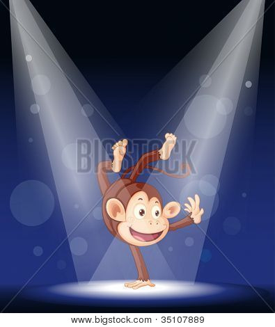 illustration of a monkey performing on stage