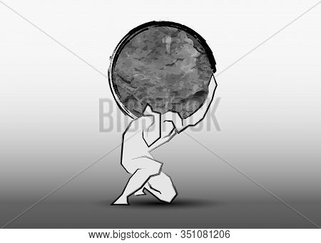 Man Carrying A Big Stone Icon, Hand Drawing Line Style, Logo Design Strength Concept, Vector Isolate