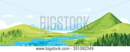 Green Mountains In Sunny Day With River In Valley And Spruce Forest In Simple Geometric Form, Nature