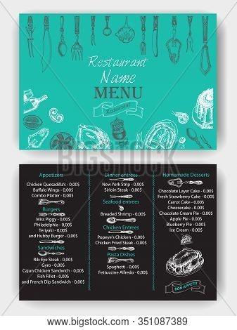 Vector Illustration Sketch - Vintage Menu. Cover For Restaurant Menu.