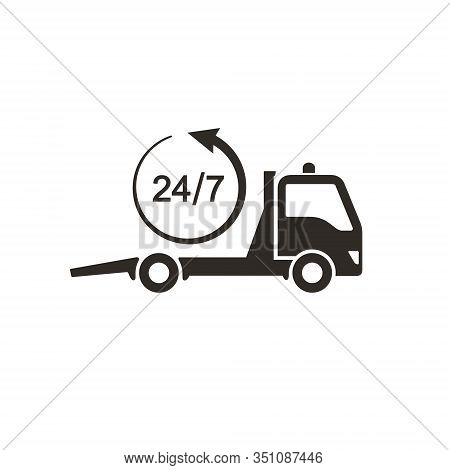 Tow Truck Icon, Car Towing Truck 24h Sign. Vector Isolated Illustration.