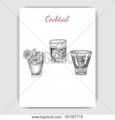 Invitation For Coktail Beach Party. Illustration With Cocktails Sketches. Hand Drawn Pattern Cocktai