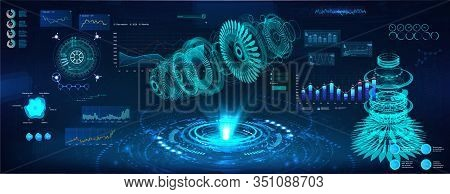 Futuristic Hologram 3d Objects, Turbine And Jet Engine. Cad X-ray Project. Mechanical Scheme Hud Sty