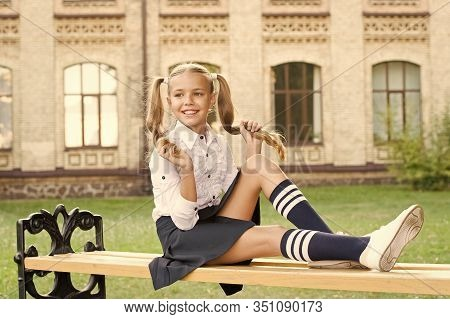 Classy Uniform Market. Smart Look. Small Happy Girl Ready To Study. Old School. Back To School. Chil