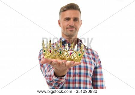 Always Wear Your Crown. Crown Selective Focus. Handsome Man Give Crown Isolated On White. Getting Re