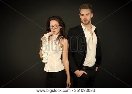 Director Of Company. Employment Director And Sexy Employee On Dark Background. Managing Director And