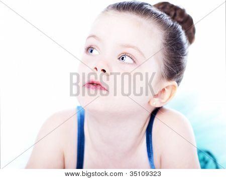 Beautiful Toddler Ballerina On White Background
