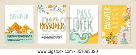 Passover Greeting Car Set. Seder Pesach Initation, Greeting Card Template Or Holiday Flyer. Happy Pa