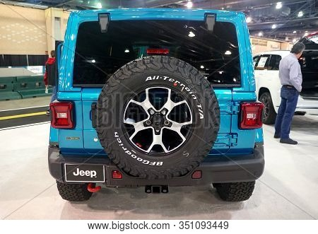 Philadelphia, Pennsylvania, U.s.a - February 9, 2020 - The Rear View Of The 2020 Jeep Wrangler Unlim