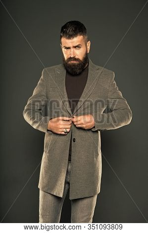 Choosing Trendy Outfit Perfect For His Style. Brutal Hipster Wear Fashionable Mustache And Beard Hai