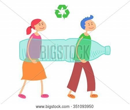 Vector Illustration Of Cartoon People Carrying Big Plastic Bottle To Recycle. Waste Recycling, Waste