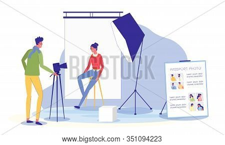 Photo Studio Interior With Photographer Shooting Client For Passport, Man And Woman Cartoon Characte