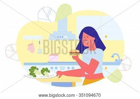 Girl Prefer Eating Hamburger To Broccoli Flat Cartoon Vector Illustration. Young Woman Wants Junk Or