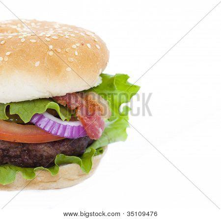 Bacon Hamburger Isolated On White
