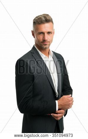 Successful Businessman. Well Groomed Business Man White Background. Man Formal Style Outfit. Busines