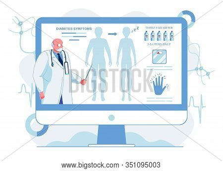 Doctor Explaining Diabetes Symptoms Illustration. Senior Therapist, Professor Describing High Blood