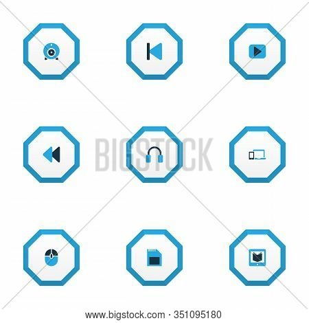 Multimedia Icons Colored Set With Learning, Rewind, Backward And Other Control Device Elements. Isol