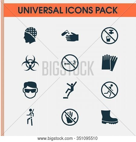 Sign Icons Set With Eyeglasses, Downfall, Corrosive Chemical And Other Nuclear Elements. Isolated Ve