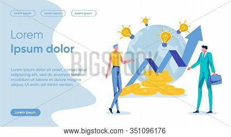 Profit Increase Flat Landing Page Vector Template. Success, Company Expansion, Innovative Ideas Bunc