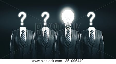Businessmans With Lightbulb And Question Marks Instead Of A Head. Business Solution And Success Conc