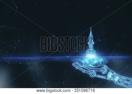 Hand Holding Launching Rocket On Blurry Space Background. Startup And Cyberspace Concept. 3d Renderi