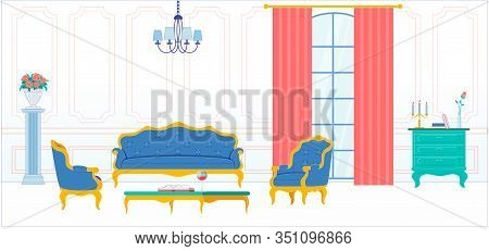 Living Room Classic And Luxury Interior With Wooden Carved And Gilded Furniture. Premium House Resid
