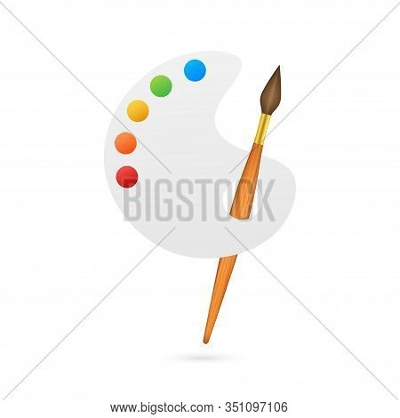 Cartoon Paintbrush And Palette Of Paints Seven Colors Of Rainbow. Vector Stock Illustration.