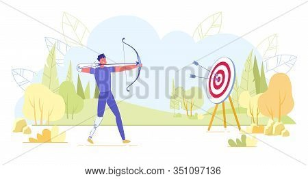 Professional Paralympian Or Amateur Athlete Keen On Archery During Training Or At Competitions. Hand