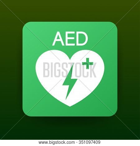Emergency First Aid Defibrillator Sign. White Heart Icon And White Cross Icon. Vector Stock Illustra