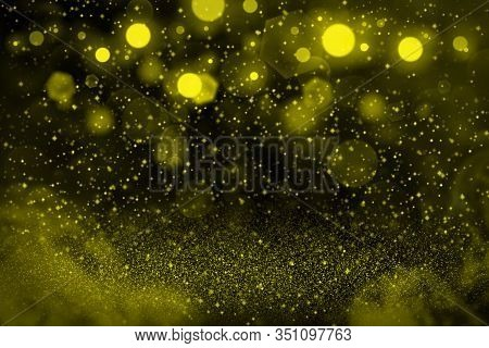 Yellow Wonderful Brilliant Abstract Background Glitter Lights With Sparks Fly Defocused Bokeh - Cele