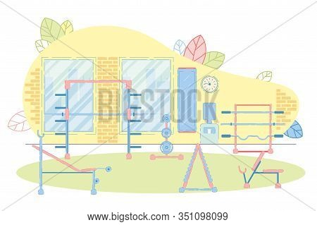 Power Lifting Zone In Fitness Room With Weight Bars And Gymnastic Bench. Equipped Public Gym For Spo