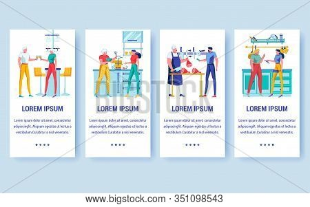Food Cooking Onboarding Screen Flat Templates. Butchery Shop Mobile App Interface Vector Layout. Che