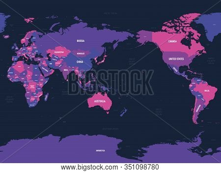 World Map - Asia, Australia And Pacific Ocean Centered. High Detailed Political Map Of World With Co