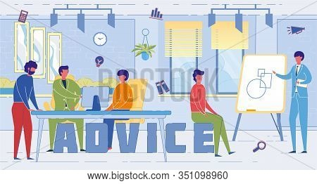Consulting Agency Experts Word Concept Banner. Marketing Specialists Giving Advice To Customers Cart