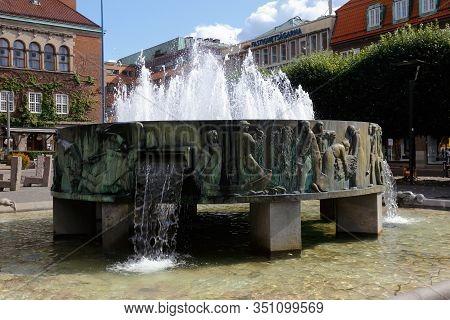Boras, Sweden - September 2, 2019: The Sjuharadsbrunnen Fountain By Nils Sjogren Is Located At The S