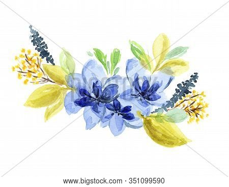 Bright Watercolor Blue, Yellow And Green Floral Bouquet. Colorful Painting Floral Composition With T