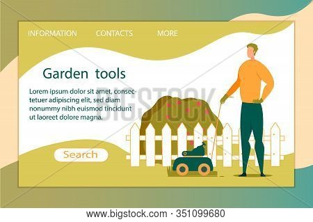 Garden Tool Horizontal Banner. Happy Character Working At Home Front Or Back Yard At Summer Time Usi