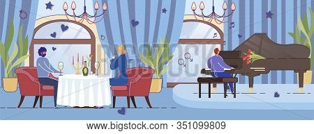 Young Couple Romantic Dinner In Luxury Restaurant With Piano Musician - St. Valentines Day Holiday B