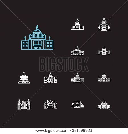 Us Capitols Icons Set. Congress And Us Capitols Icons With Massachusetts State Capitol, Idaho State