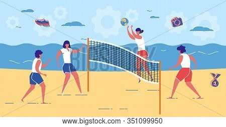 Young Female Team In Sportswear Play Volleyball On Summer Beach. Outdoor Game On Nature. Woman Jump