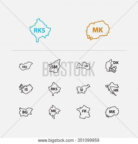 Cartography Icons Set. France And Cartography Icons With Croatia, Denmark And San Marino. Set Of Of
