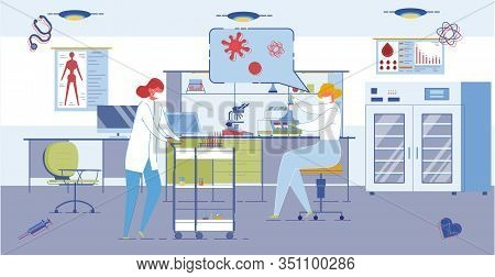 Medical Or Pharmaceutical, Biological Laboratory Background With Scientist Characters Conducting Ana