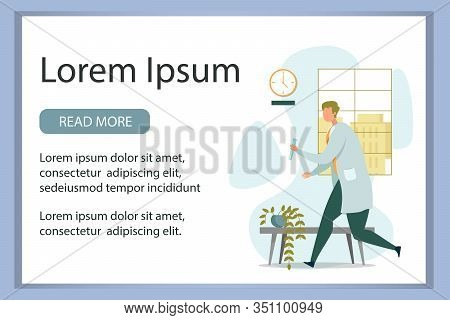 Advertising Banner With Researcher Wearing White Coat Rushing With Discovered Important Liquid Compo