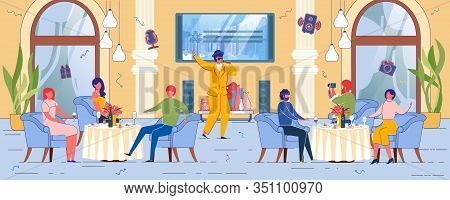 People Cartoon Characters Sitting In Restaurant On Family Or Corporate Party With Showman Performanc