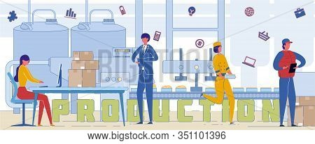 Industrial Production Process Word Concept Banner. Supervisors Monitoring Factory Equipment Performa