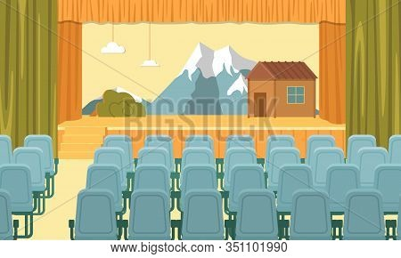 Assembly Hall Interior. Raised Stage Decorated For School Performance, Platform For Show. Little Hou