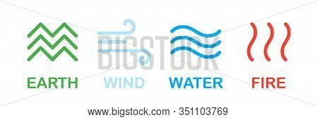 Elements Of Nature. Earth Wind Water Fire Nature Isolated Symbols Or Signs. Nature Concept. Environm